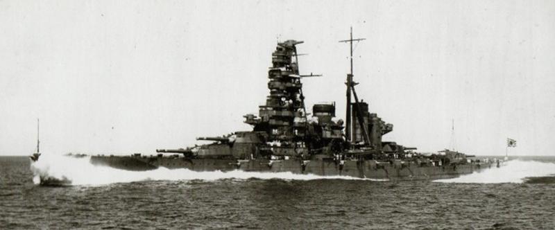 1934年8月28日、高知県・宿毛湾外で第2次改装を終え、公式試運転中の戦艦榛名。革パッキンの改良で砲塔内の漏水が止まった=福井静夫著・写真日本海軍全艦艇史上巻=KKベストセラーズ1994年刊