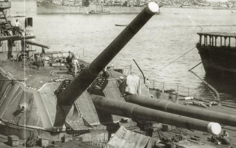 最終艤装中の「大和」を写した写真の三番主砲部分を拡大=1941(昭和16)年9月20日、呉工廠撮影。写真日本海軍全艦艇史上巻(福井静夫著ベストセラーズ1994年刊)から