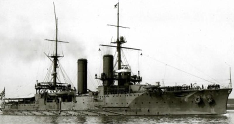 一等巡洋艦筑波。1907(明治40)年、英国訪問時=写真日本海軍全艦艇史上巻(福井静夫著ベストセラーズ1994年刊)