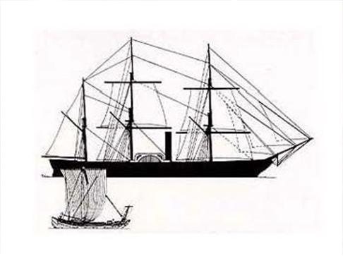 サスケハナ号と千石船の比較=船の科学館叢書「資料ガイド4黒船来航」から。日本財団図書館(電子図書館)刊。